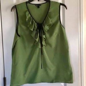 Ruffle Detailed Front String Tie Sleeveless Blouse